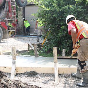Concrete driveway and sidewalk construction.